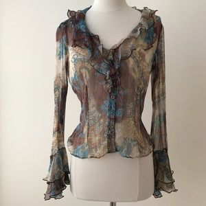 Cache Sheer Silk and Metallic Thread Ruffle Blouse